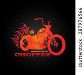 Red Orange Motorcycle Chopper...