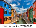 Picturesque Canal With Colorful ...