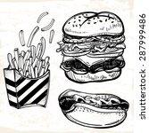 fast food set vintage linear... | Shutterstock .eps vector #287999486