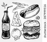 fast food set vintage linear... | Shutterstock .eps vector #287999516
