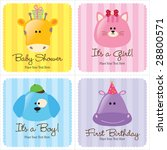 Stock vector assorted baby cards set baby shower birth announcements first birthday 28800571