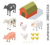 isometric farm animals isolated ... | Shutterstock .eps vector #288011216