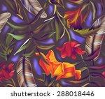 seamless tropical flower  plant ... | Shutterstock . vector #288018446