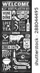 vintage restaurant chalkboard...   Shutterstock .eps vector #288044495