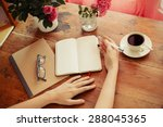 woman at home writing and... | Shutterstock . vector #288045365
