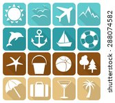 set of vector summer icons... | Shutterstock .eps vector #288074582