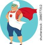 super grandma  cartoon old lady ... | Shutterstock .eps vector #288077312