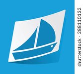 sticker with sailing ship icon  ...