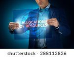 Small photo of Businessman holding a transparent screen with an inscription a allocation of resources. Business, technology, internet and networking concept.