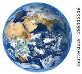 Small photo of Earth globe isolated on white background. Elements of this image furnished by NASA