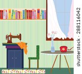 retro room interior with sewing ... | Shutterstock .eps vector #288116042