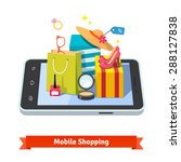 woman mobile online shopping... | Shutterstock .eps vector #288127838