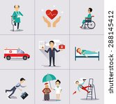 insurance character and icons... | Shutterstock .eps vector #288145412