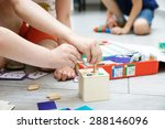 children playing with homemade  ... | Shutterstock . vector #288146096
