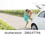 happy female friends pushing... | Shutterstock . vector #288147746