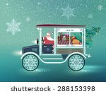 Cute Santa Claus In Antique Car ...