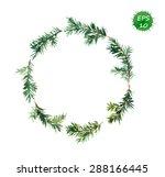 spruce wreath. watercolor vector | Shutterstock .eps vector #288166445