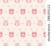 Seamless Owls Pastel Color...