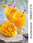 fresh tropical mango drink and... | Shutterstock . vector #288207176