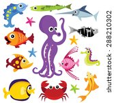 colorful cartoon marine life... | Shutterstock .eps vector #288210302