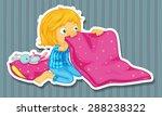 girl in blue pajamas folding... | Shutterstock .eps vector #288238322