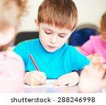 cute little boy studying... | Shutterstock . vector #288246998