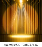 gold curtains on theater with... | Shutterstock . vector #288257156