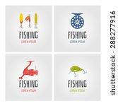 set. fishing. logo and design... | Shutterstock .eps vector #288277916
