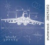 military aircraft blueprint | Shutterstock .eps vector #288292352