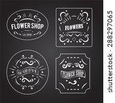 vintage flower shop labels set.... | Shutterstock .eps vector #288297065