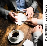 business meeting at cafe    | Shutterstock . vector #288331898