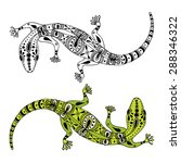 two hand drawn vector gecko... | Shutterstock .eps vector #288346322