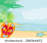 flip flops and seashell on the... | Shutterstock . vector #288364652