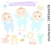 happy new little cute baby boys ... | Shutterstock .eps vector #288366638