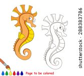 Orange Seahorse. Kid Game....
