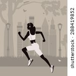 running woman in the park in ... | Shutterstock .eps vector #288419852