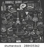 chalk drawn doodle icons for... | Shutterstock .eps vector #288435362