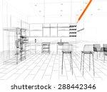 3d linear kitchen interior | Shutterstock . vector #288442346