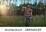 bearded lumberjack in hat... | Shutterstock . vector #288468185