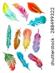 watercolor hand drawn feathers... | Shutterstock .eps vector #288499322