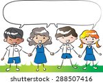students holding hands with... | Shutterstock .eps vector #288507416