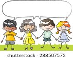 kids holding hands with blank... | Shutterstock .eps vector #288507572