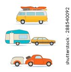 set of vintage caravan and cars ... | Shutterstock .eps vector #288540092