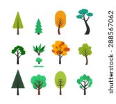 set of different trees cartoons.... | Shutterstock . vector #288567062