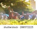 group of happy children lying... | Shutterstock . vector #288572225