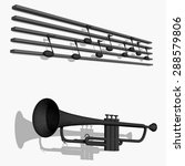 black trumpet with notes | Shutterstock .eps vector #288579806
