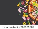 vector pizza with ingredients... | Shutterstock .eps vector #288585302