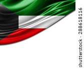 kuwait  flag of silk and white... | Shutterstock . vector #288618116