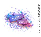blue ribbon with happy birthday ... | Shutterstock .eps vector #288680156
