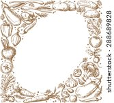 oval frame with  sketch of... | Shutterstock .eps vector #288689828